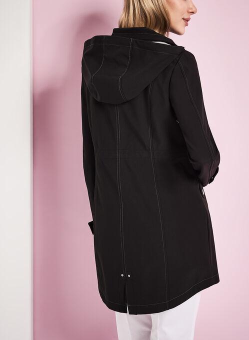 Anorak en jersey avec capuchon, Noir, hi-res