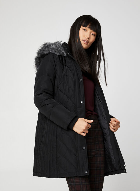 Quilted Down Coat, Black