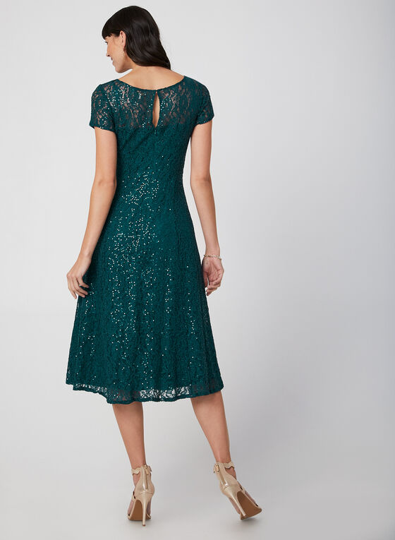 Fit & Flare Sequin Lace Dress, Green, hi-res