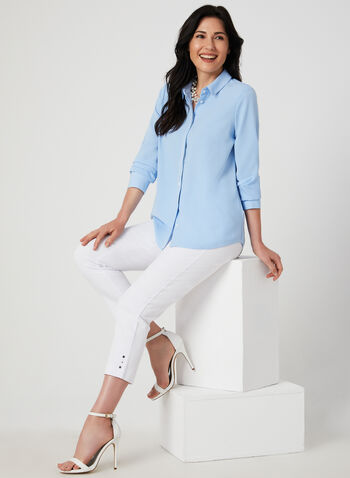 Contrast Stitch Long Sleeve Blouse, Blue,  blouse, long sleeves, collar, button down, stretch twill, fall 2019, winter 2019