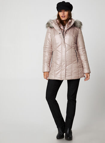 Marcona - Quilted Faux Down Coat, Pink, hi-res,  Marcona, coat, outerwear, quilted, faux down, faux fur, fall 2019, winter 2019
