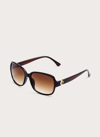 Square Metal Detail Plastic Sunglasses , Brown, hi-res