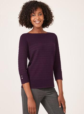 Ottoman Knit ¾ Sleeve Sweater, Purple, hi-res