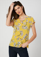 Floral Print Jersey Blouse, Yellow, hi-res