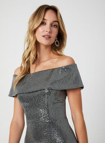 Metallic Mermaid Dress, Silver,  dress, occasion dress, gown, metallic, sequins, off-the-shoulder, fall 2019, winter 2019