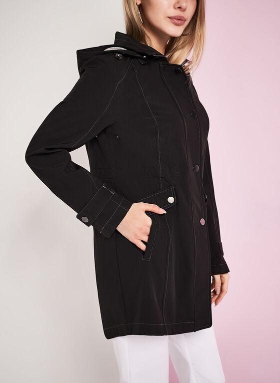 Hooded Jersey Anorak Coat, Black, hi-res