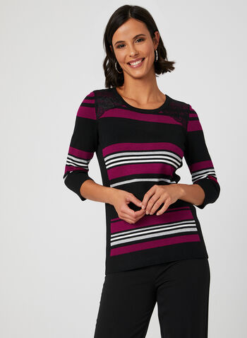 Stripe Print Knit Top, Red, hi-res