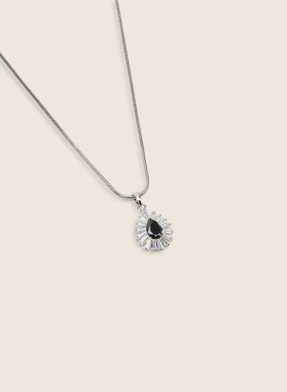 Teardrop Pendant Necklace & Earring Set, Black