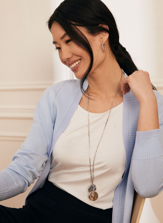 Open Front Knit Cardigan, Blue