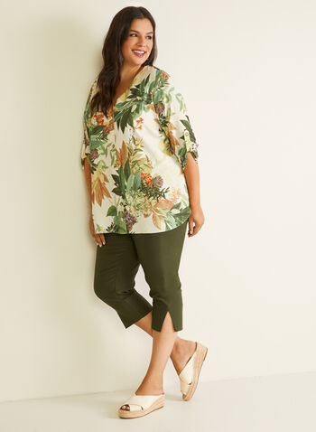 Tropical Print Button Front Blouse, White,  blouse, tropical print, button front, 3/4 sleeves, crepe, spring summer 2020