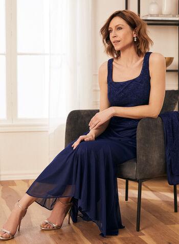 Robe et cardigan en jacquard, Bleu,  robe de soirée, robe, occasion, cardigan, jacquard, col carré, sans manches, maille filet, épaulettes, printemps été 2021