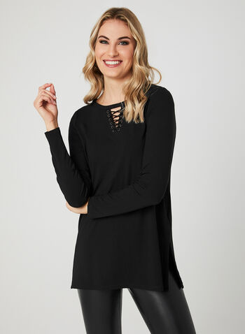 Long Sleeve Lace-Up Top, Black, hi-res