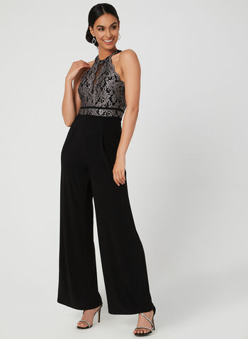 Lace Bodice Jumpsuit, Black,  wide leg, jersey, glitter, scalloped, empire waist, sleeveless, fall 2019, winter 2019