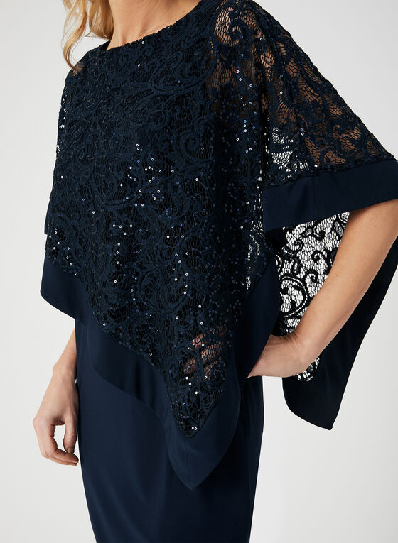 Robe poncho en dentelle et sequins, Bleu