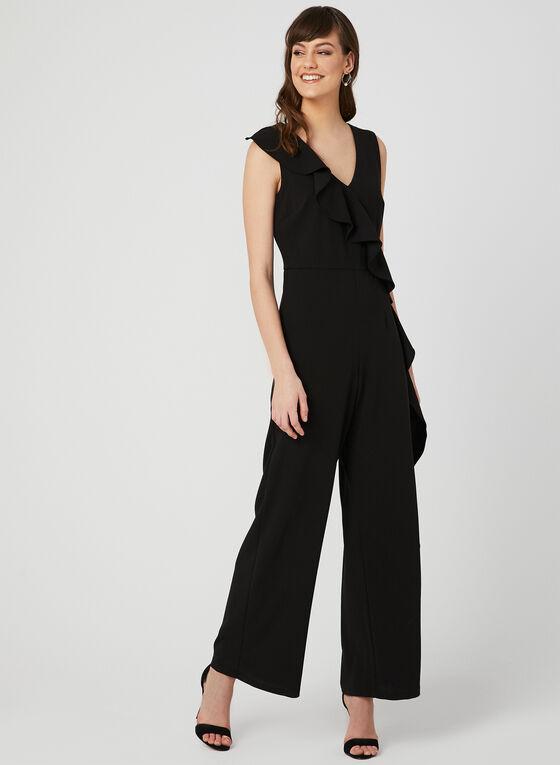 Sleeveless Ruffle Jumpsuit, Black, hi-res