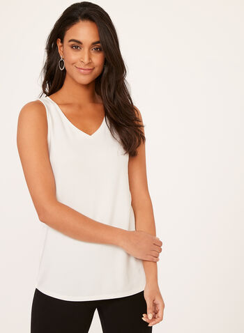 V-Neck Tank Top, Off White, hi-res