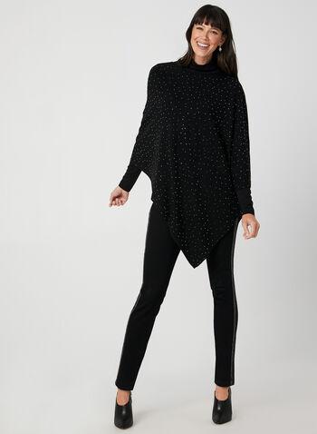 Poncho tricoté à cristaux, Noir,  automne hiver 2019, poncho, tricot, cristaux, encolure ronde