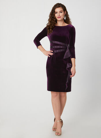Velvet Dress With Satin Detail, Purple,  velvet dress, dress, short dress, cocktail dress, satin, fall 2019, winter 2019, Holiday