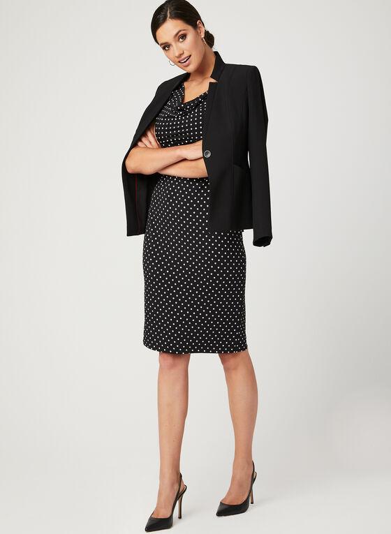 Dot Print Jersey Dress, Black, hi-res