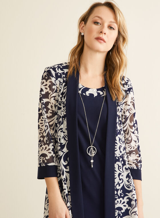 Cardigan Necklace Dress Set , Blue