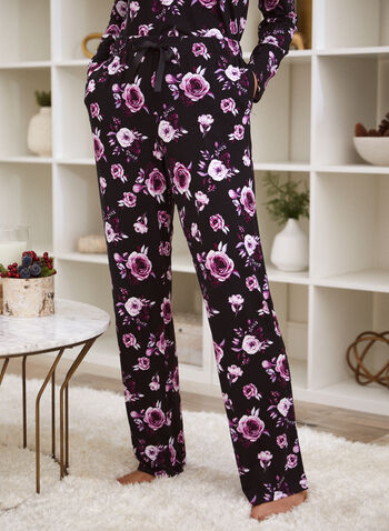Pantalon de pyjama à motif de roses, Noir,  automne 2021, vêtement de nuit, pantalon, pyjama, bas de pyjama, pull-on, modèle à enfiler, taille élastique, cordon de serrage, jambe droite, 2 poches, motif, rose, floral, imprimé, roses, fleuri, fleur, matière, doux, plus