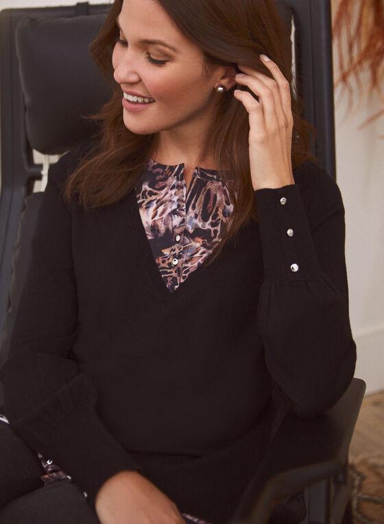 Animal Motif Fooler Sweater, Black