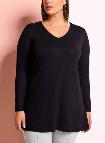 Long Sleeve V-Neck Knit Top, Black, hi-res
