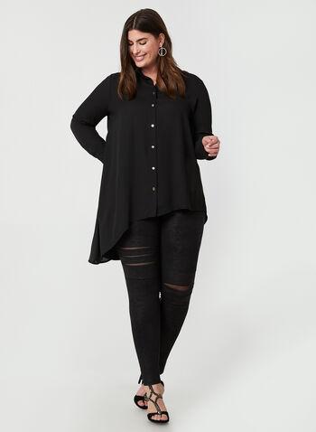 Joseph Ribkoff - Asymmetrical Tunic Blouse, Black, hi-res,  Joseph Ribkoff, blouse, tunic, long sleeves, button down, asymmetrical, fall 2019, winter 2019