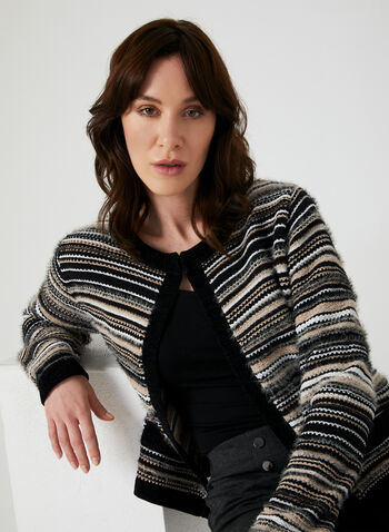 Stripe Print Cardigan, Black, hi-res,  long sleeves, crew neck, knit, fall 2019, winter 2019