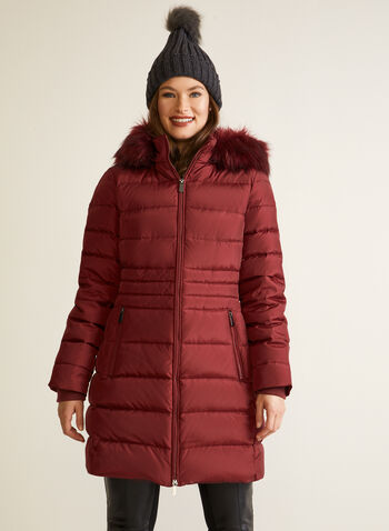Down Blend Quilted Coat, Red,  fall winter 2020, coat, winter, warm, jacket, stand collar, removable hood, faux fur trim, long sleeve, ribbed, quilted, quilting, zipper, zip, pocket, down blend, feathers, machine washable, laura exclusive