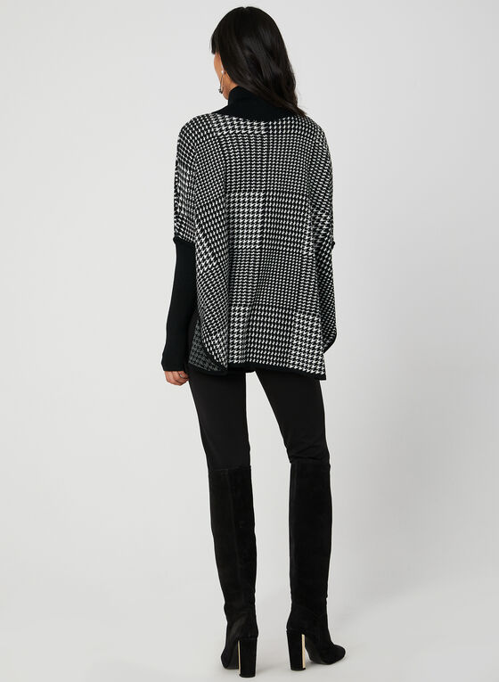 Houndstooth Print Poncho Sweater, Black, hi-res
