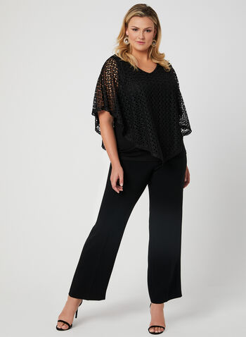 Crochet Poncho Top, Black, hi-res