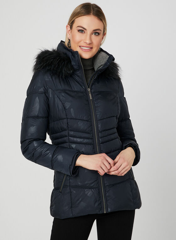 Quilted Faux Down Coat, Blue
