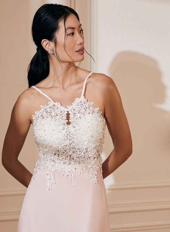 Crystal Embroidered Crepe Dress, Pink