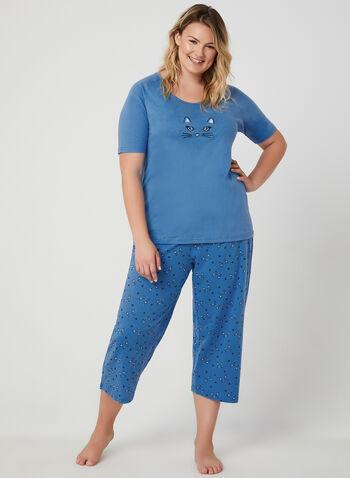 Bellina - Cat Print 2-Piece Pyjama Set, Blue, hi-res,  cotton, t-shirt, short sleeves, capris, spring 2019, summer 2019