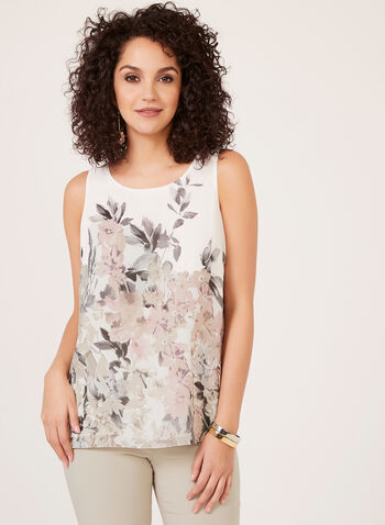 Sleeveless Floral Print Blouse, White, hi-res