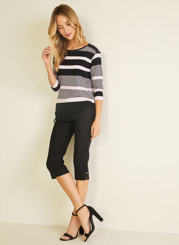 Stripe Print 3/4 Sleeve Tee, Black,  t-shirt, stripe, 3/4 sleeves, drawstring, jersey, spring summer 2020