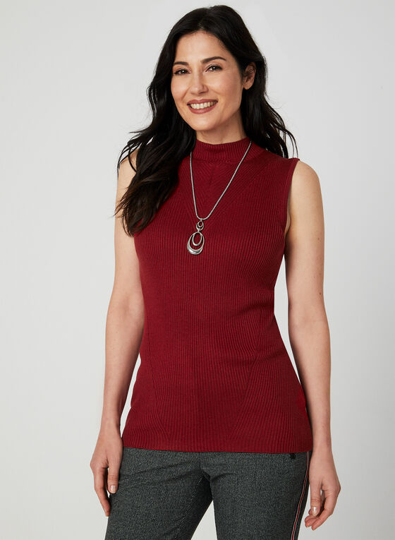 Sleeveless Knit Top, Red