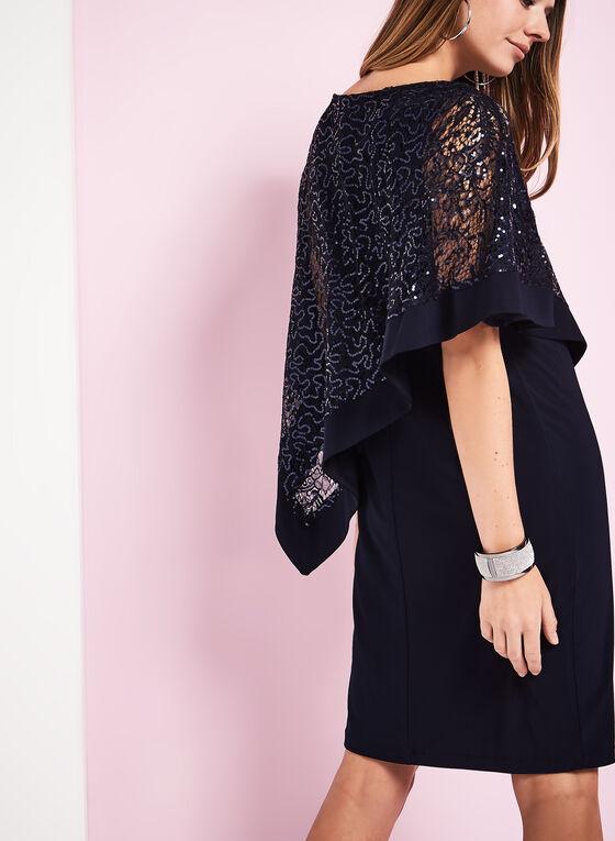 Sequin & Jersey Poncho Dress, Blue, hi-res