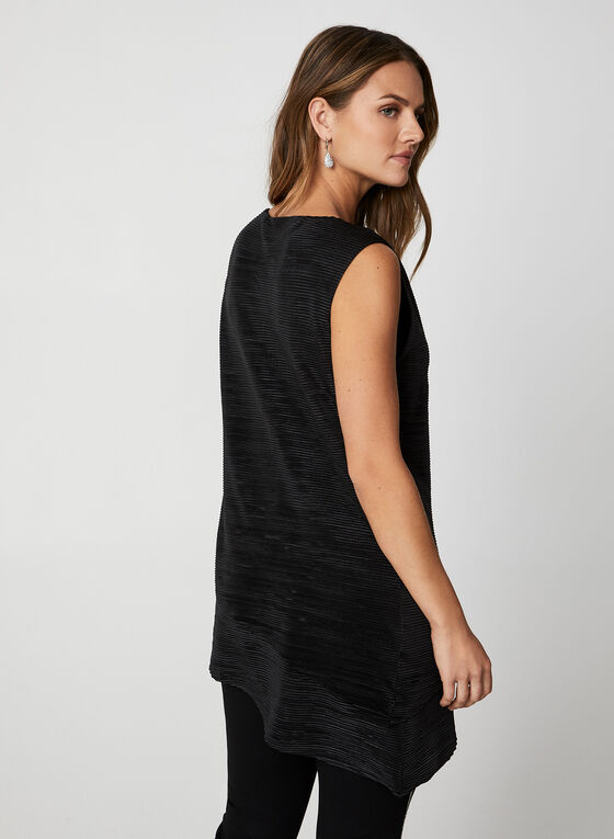 Sleeveless Metallic Pleated Top, Black