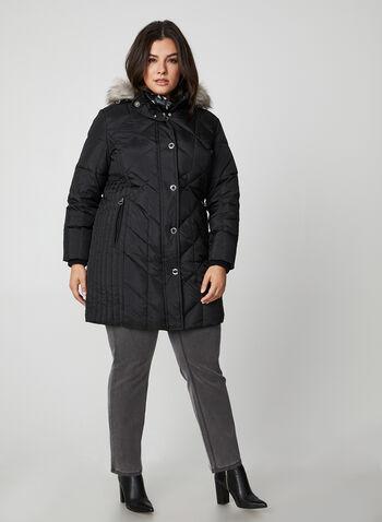 Manteau matelassé en duvet véritable, Noir,  manches longues, lavable à la machine, automne hiver 2019, col montant, rabat, capuchon, fausse fourrure, capuchon amovible