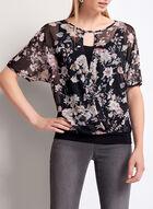 Blouse drapée à fleurs avec effet croisé, Noir, hi-res