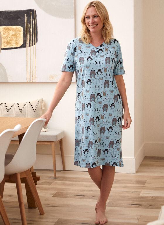 Animal Print Nightgown, Blue