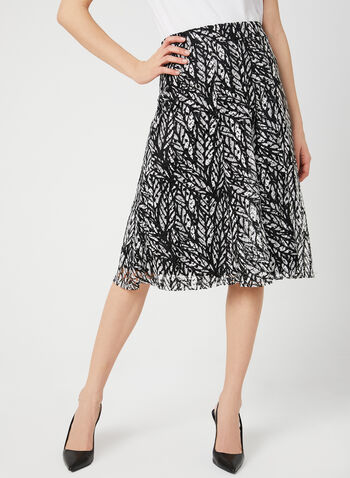 Printed Crochet Lace Skirt, Black, hi-res