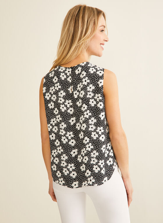 Dotted Floral Print Sleeveless Blouse, Black