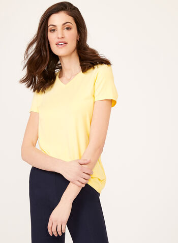 V-Neck T-Shirt, Yellow, hi-res