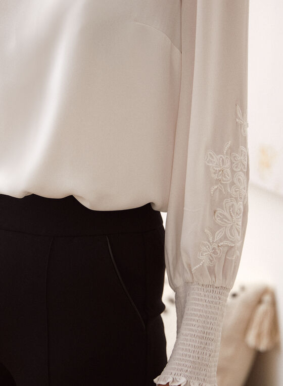 Embroidered Smocked Cuff Blouse, Off White