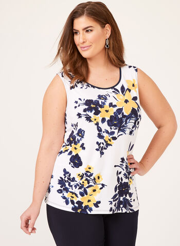 Sleeveless Floral Print Top , White, hi-res