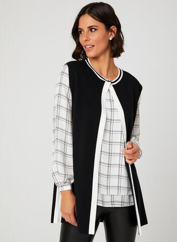Contrast Knit Vest, Black, hi-res