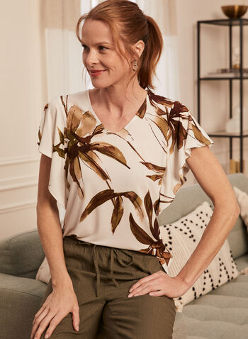 Tropical Print Short Sleeve Top, White,  top, tropical print, palm leaf, ruffled sleeves, short sleeves, spring summer 2020